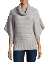 Neiman Marcus Cashmere Cable Knit Banded Hem Poncho Heather Gray