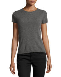 Neiman Marcus Cashmere Short Sleeve Pullover Top Gray