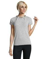 Hayden Ivory Cashmere Embellished Short Sleeve Sweater