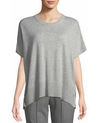 Michael Kors Michl Kors Collection Crewneck Short Sleeve Melange Draped Cashmere Pullover