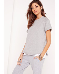 Missguided Short Sleeved Sweatshirt Grey