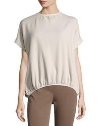 Brunello Cucinelli Round Neck Cashmere Sweater Light Gray
