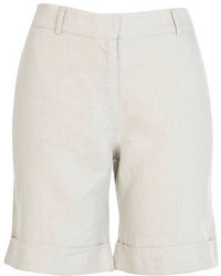 River Island Beige Linen Long Rolled Up Shorts