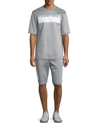 Helmut Lang Logo Side Drawstring Track Shorts Heather Gray