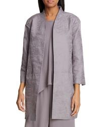 Eileen Fisher Stand Collar Organic Cotton Silk Jacket