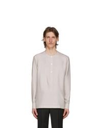 Ermenegildo Zegna Grey Band Collar Shirt
