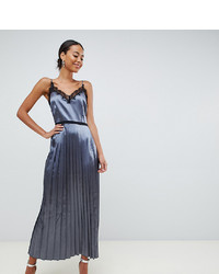 Little Mistress Tall Cami Dress With Pleated Skirt In Slate