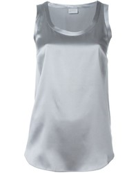 Grey Silk Sleeveless Top