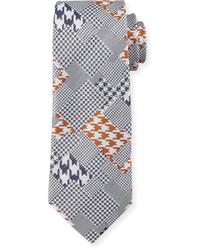 Robert Graham Crowdy Patchwork Silk Tie Gray