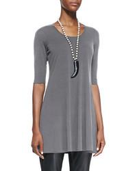 Eileen Fisher Half Sleeve Silk Jersey Tunic Petite