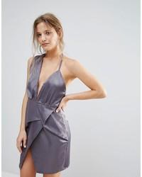 Missguided Grey Silky Asymmetric Wrap Dress