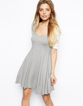asos skater dress with lace sleeves graycream where to
