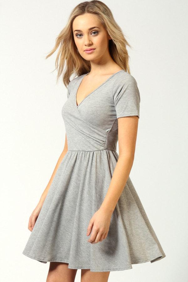 1dd4867c1d3 ... Boohoo Ashley Wrap Over Cap Sleeve Skater Dress ...