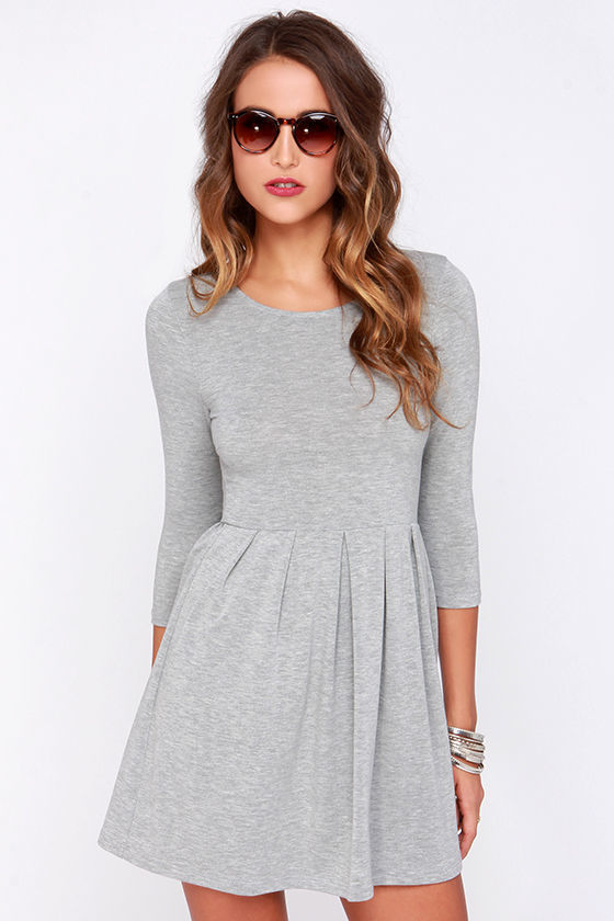 Everly Keen About You Heather Grey Skater Dress