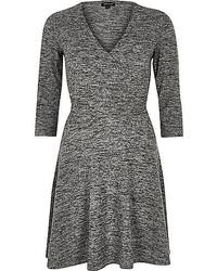 River Island Grey Marl Wrap Front Skater Dress