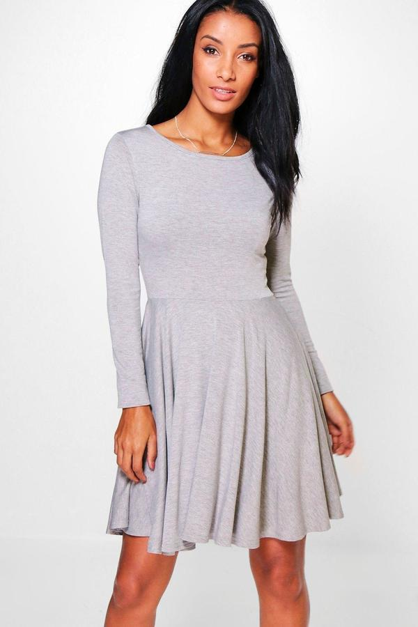 6e16cffd1bec ... Grey Skater Dresses Boohoo Jade Long Sleeve Skater Dress ...
