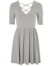 Topshop Lattice Front Skater Dress