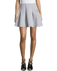 Dex Pleated Neoprene A Line Skirt Light Gray Mix