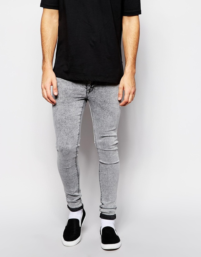 ... Grey Skinny Jeans Asos ASOS BRAND ASOS Extreme Super Skinny Jeans With  Acid Wash