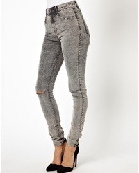 Asos Ridley High Waist Ultra Skinny Jeans In Grey Acid Wash Cord Blue