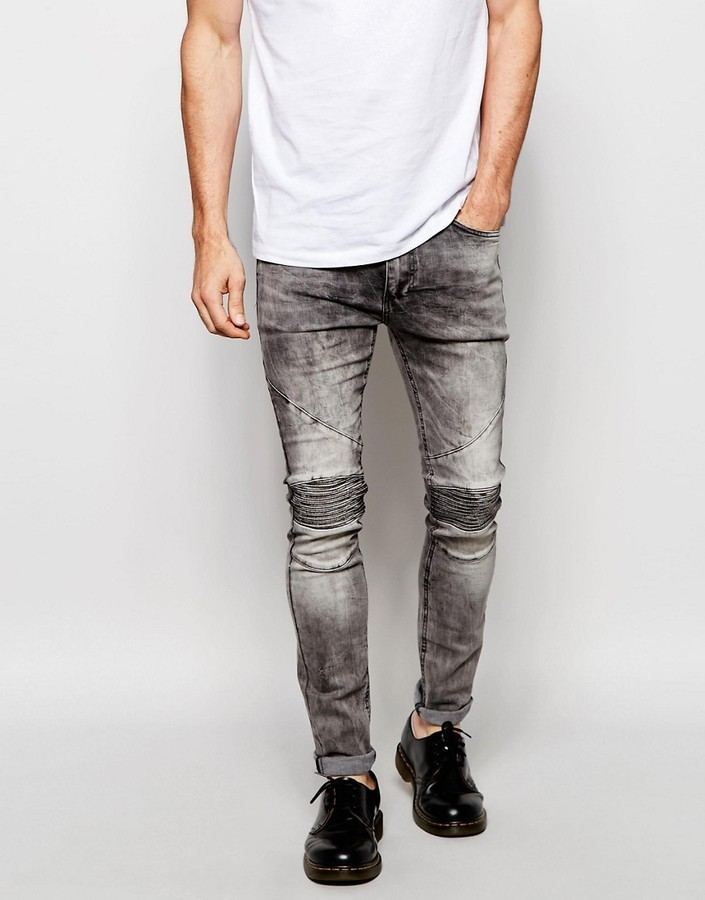 ... Religion Biker Jeans In Skinny Fit With Stretch In Gray Veins Wash