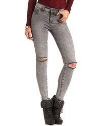 Charlotte Russe Distressed Acid Wash Skinny Jean