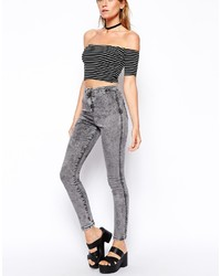 Asos Collection Rivington High Waist Denim Ankle Grazer Jeggings In Light Gray Wash