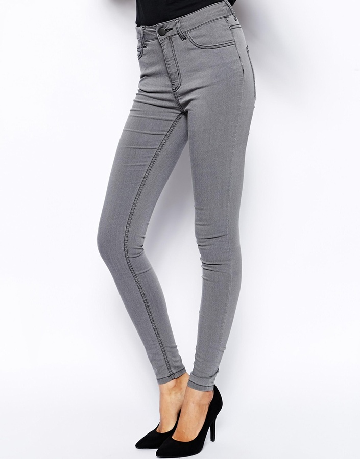 Gray high rise skinny jeans