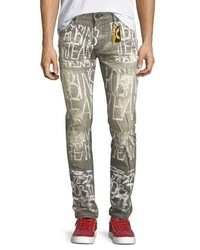 Logo graffiti paint skinny jeans gray medium 1043870