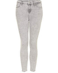 Topshop Petite Moto Grey Mottle Wash Leigh Jeans