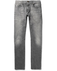 Saint Laurent Skinny Fit 15cm Hem Washed Denim Jeans