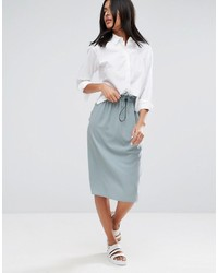 Asos Midi Skirt With Drawstring Toggle