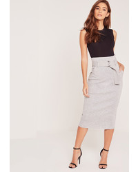 Missguided Belted Ponte Midi Skirt Grey