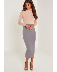 Missguided Jersey Midi Skirt Grey