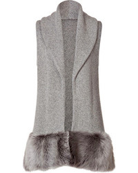 Ralph Lauren Collection Cashmere Silk Vest With Shearling Trim