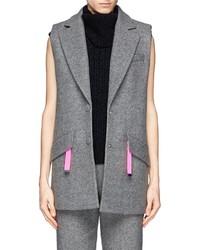 Nobrand Contrast Zip Puller Felt Sleeveless Coat