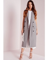 Missguided Double Breasted Sleeveless Wool Maxi Coat Grey