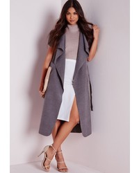 Missguided Sleeveless Belted Waterfall Coat Grey
