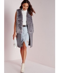 Missguided Sleeveless Wool Coat With Faux Fur Grey