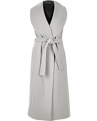 River Island Grey Sleeveless Belted Robe Coat