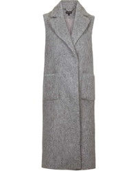 Textured Wool Blend Sleeveless Coat