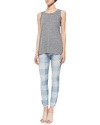 Current/Elliott The Muscle Tee Heather Grey Star Print
