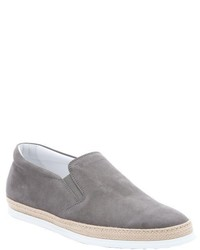 Tod's Brown Suede Slip On Espadrille Sneakers