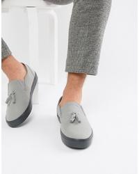 ASOS DESIGN Slip On Plimsolls In Grey With Tassel