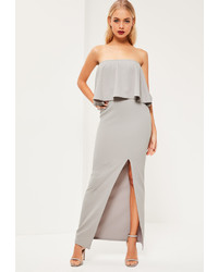 Missguided grey crepe frill side split maxi dress medium 1054262