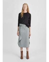 Nehera Merino Wool Flannel Belted Skirt Light Grey