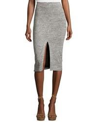 Spiga slit front knit midi pencil skirt gray medium 3723939