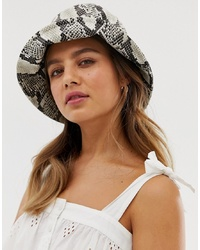 My Accessories London Patent Snakeskin Bucket Hat