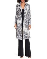 Helene Berman Snake Print Double Breasted Stretch Cotton Trench Coat