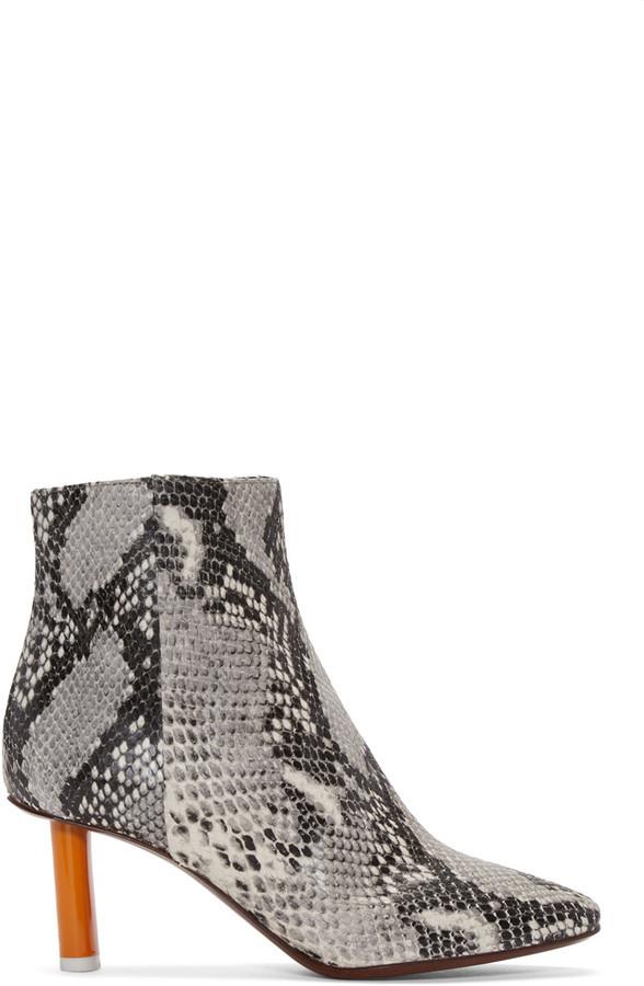 886310ca124 ... Vetements Grey Snakeskin Embossed Ankle Boots ...